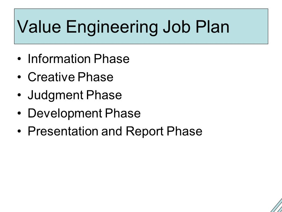 Value Engineering Job Plan
