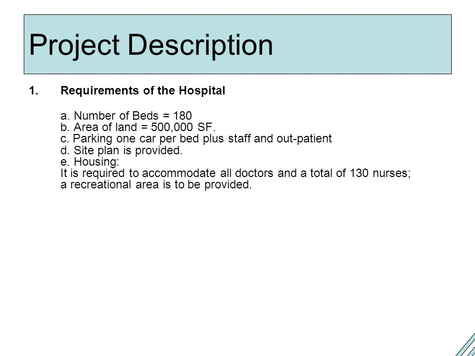 Project Description Requirements of the Hospital