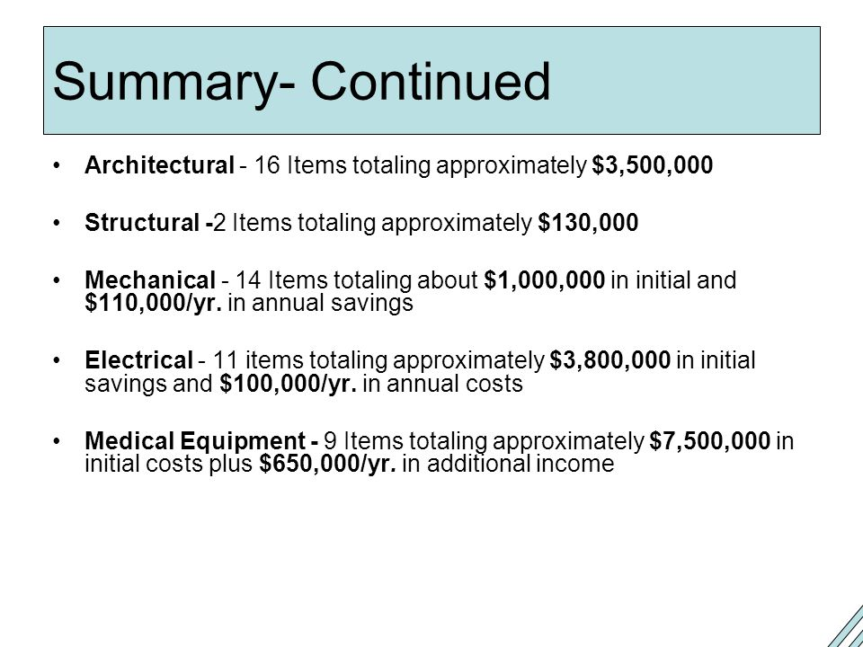 Summary- Continued Architectural - 16 Items totaling approximately $3,500,000. Structural -2 Items totaling approximately $130,000.