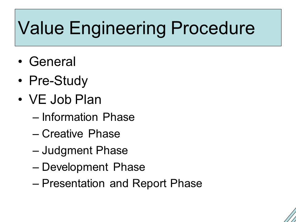 Value Engineering Procedure