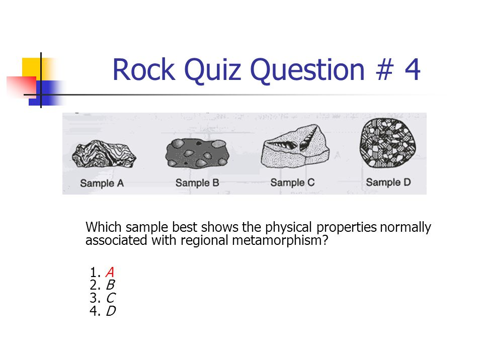 Rock Quiz Question # 4 Which sample best shows the physical properties normally associated with regional metamorphism
