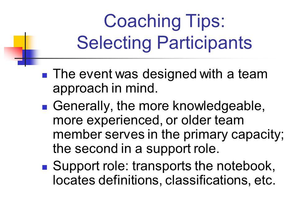 Coaching Tips: Selecting Participants