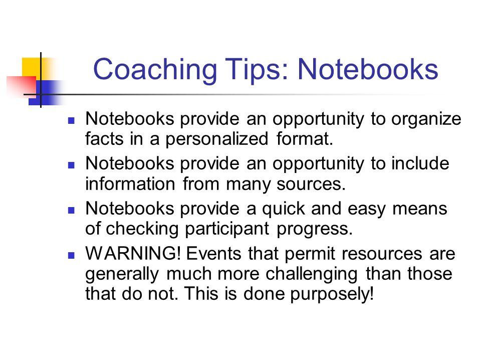 Coaching Tips: Notebooks