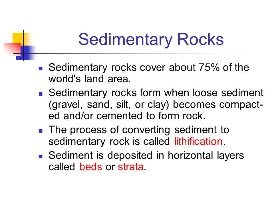 Sedimentary Rocks Sedimentary rocks cover about 75% of the world s land area.