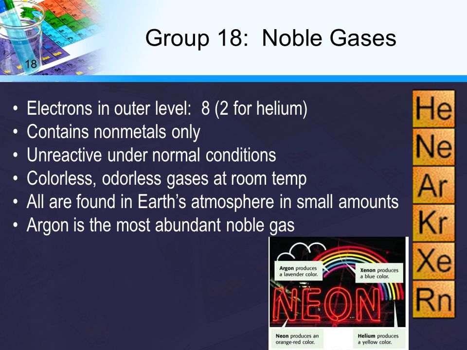Electrons in outer level: 8 (2 for helium) Contains nonmetals only