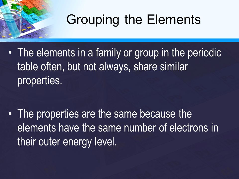 The elements in a family or group in the periodic table often, but not always, share similar properties.