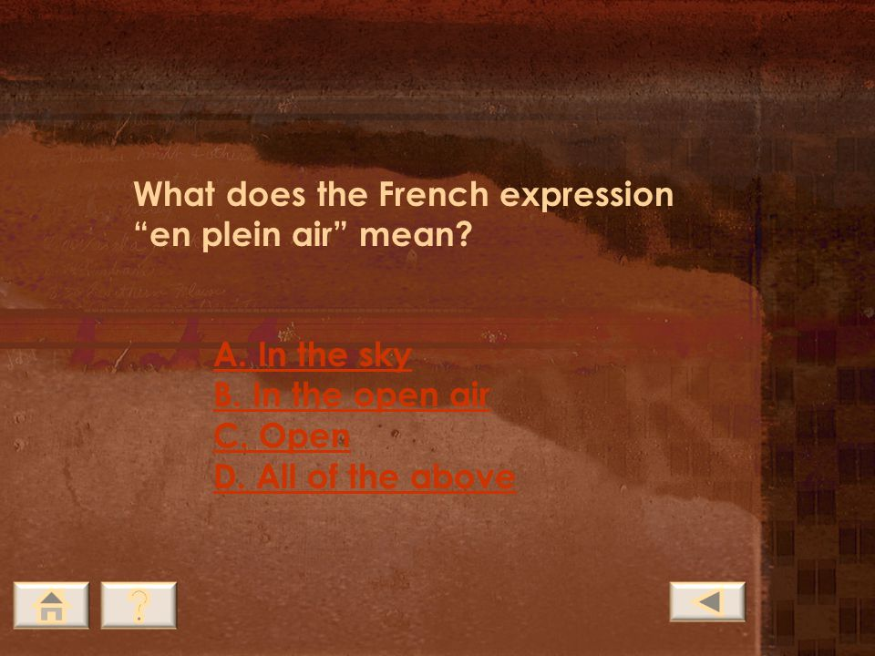 What does the French expression en plein air mean