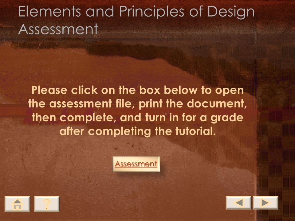 Elements and Principles of Design Assessment