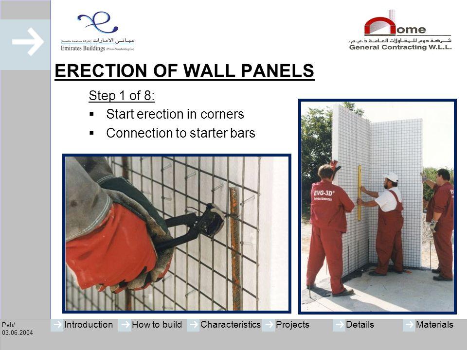 ERECTION OF WALL PANELS