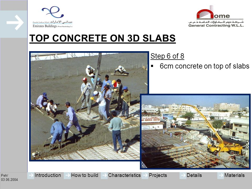 TOP CONCRETE ON 3D SLABS Step 6 of 8 6cm concrete on top of slabs