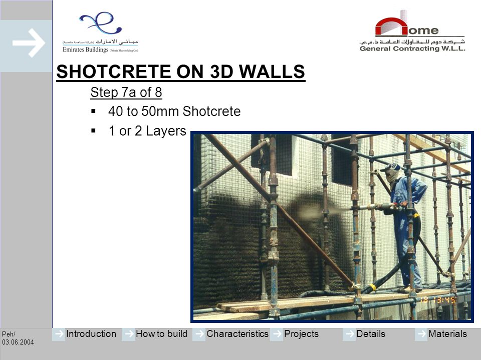 SHOTCRETE ON 3D WALLS Step 7a of 8 40 to 50mm Shotcrete 1 or 2 Layers