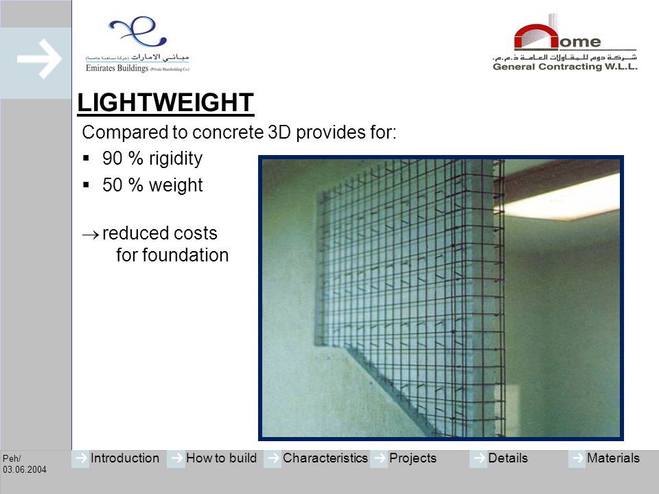 LIGHTWEIGHT Compared to concrete 3D provides for: 90 % rigidity