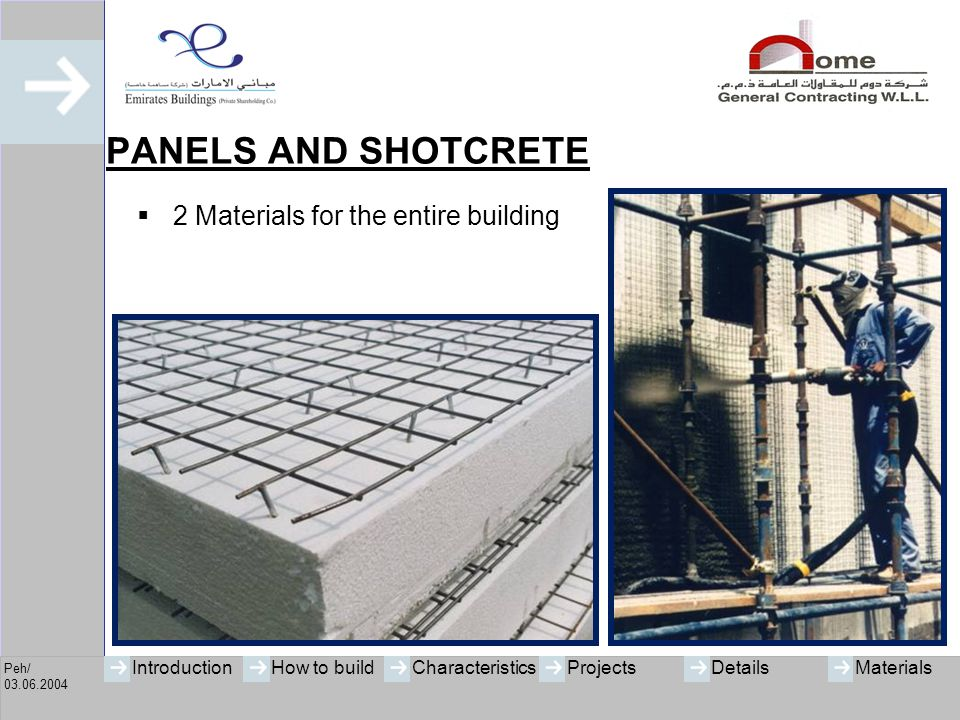 PANELS AND SHOTCRETE 2 Materials for the entire building