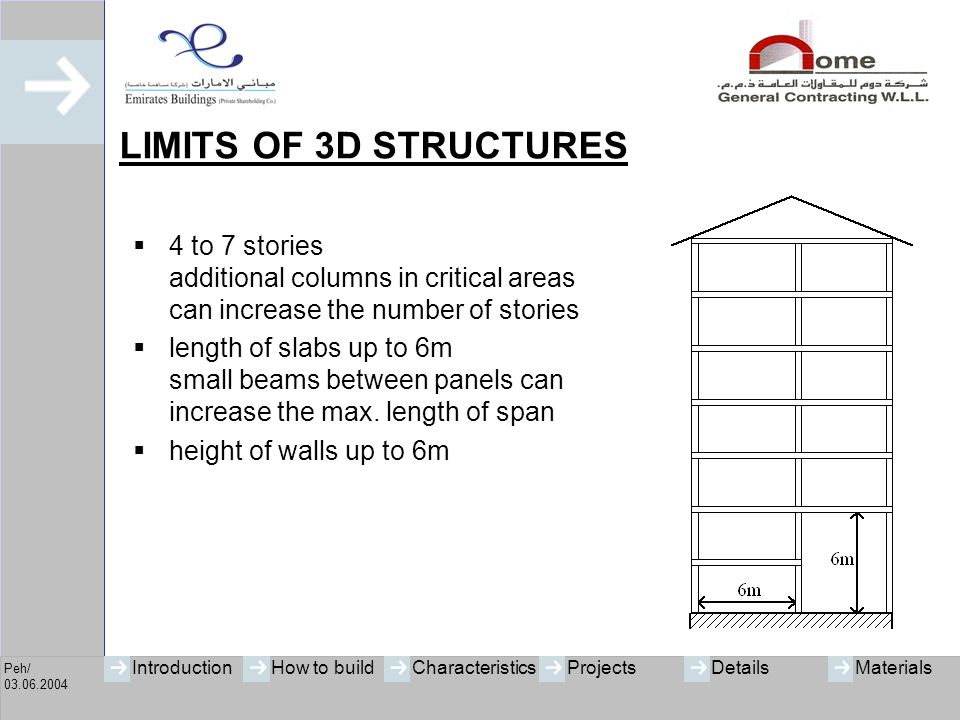 LIMITS OF 3D STRUCTURES 4 to 7 stories additional columns in critical areas can increase the number of stories.