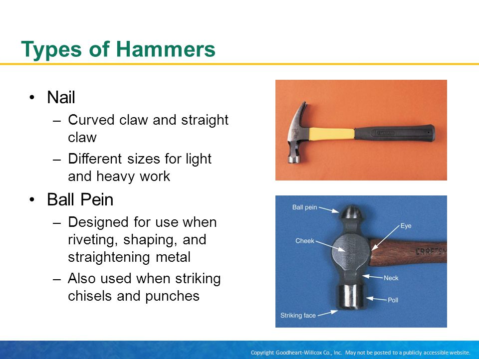 Types of Hammers Nail Ball Pein Curved claw and straight claw