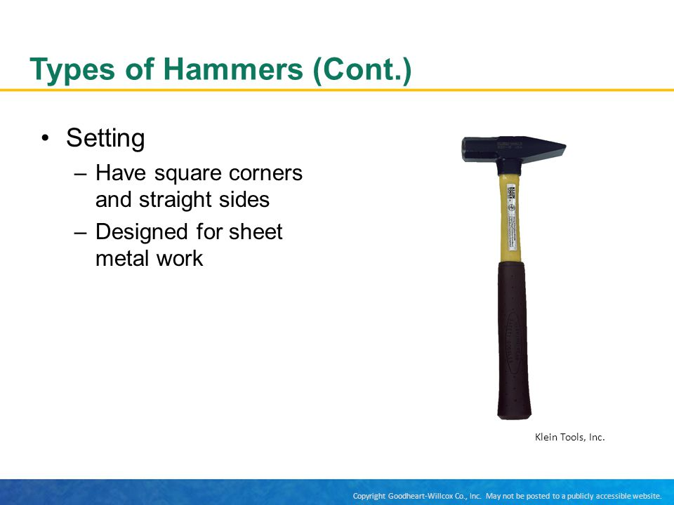Types of Hammers (Cont.)