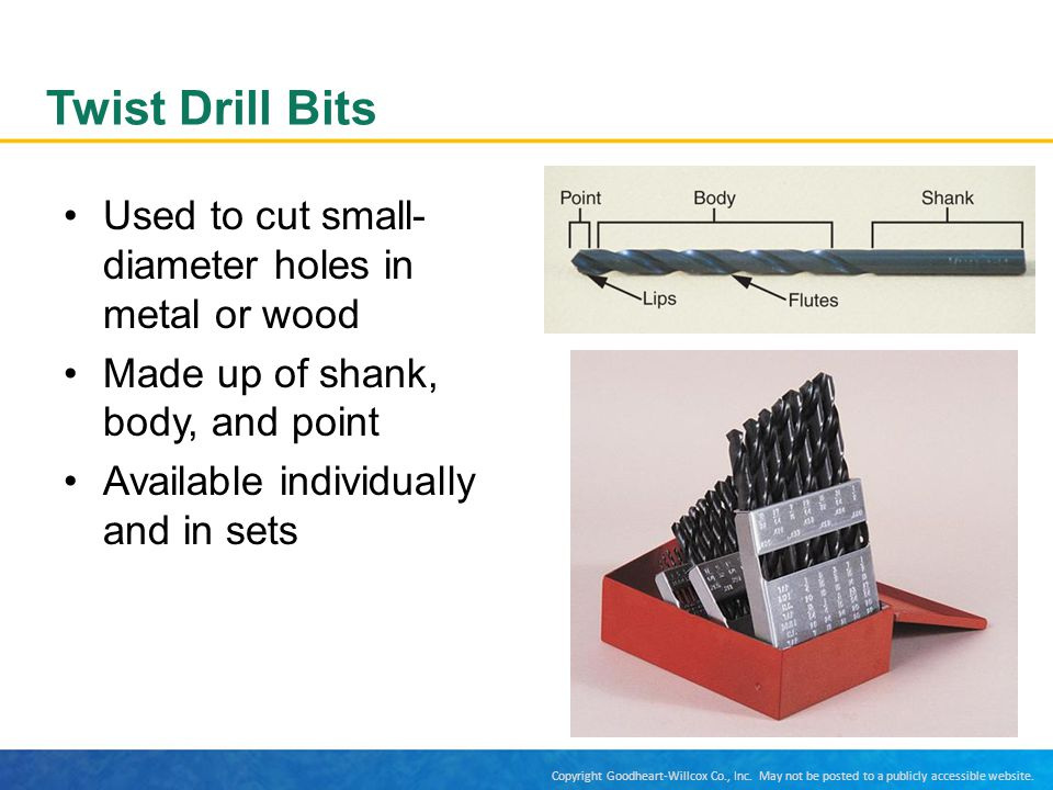 Twist Drill Bits Used to cut small-diameter holes in metal or wood