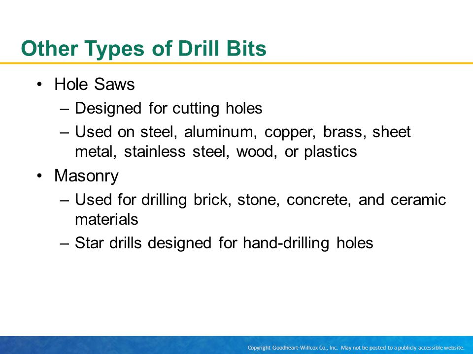 Other Types of Drill Bits