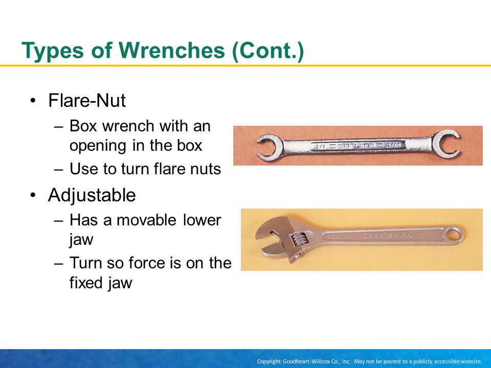 Types of Wrenches (Cont.)