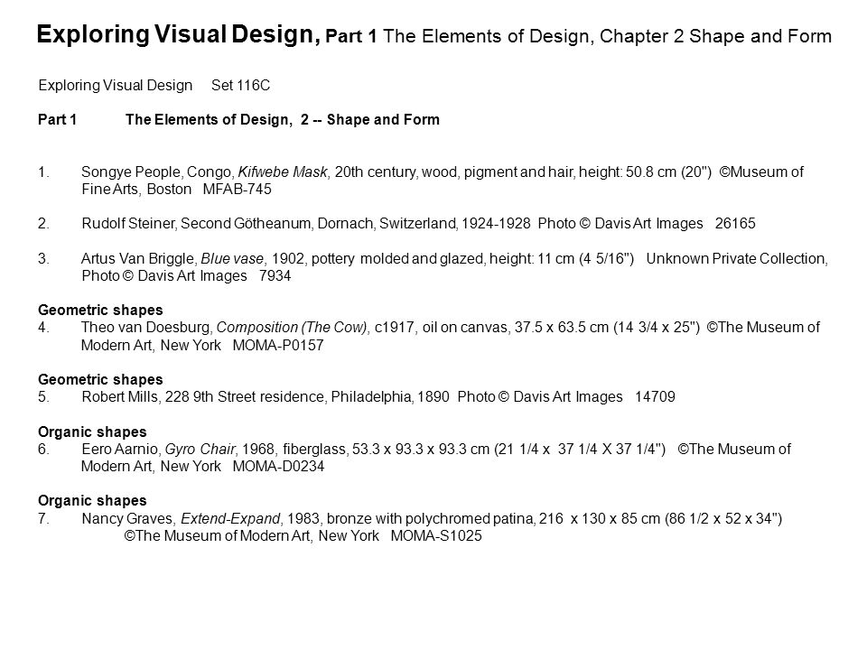 Exploring Visual Design, Part 1 The Elements of Design, Chapter 2 Shape and Form