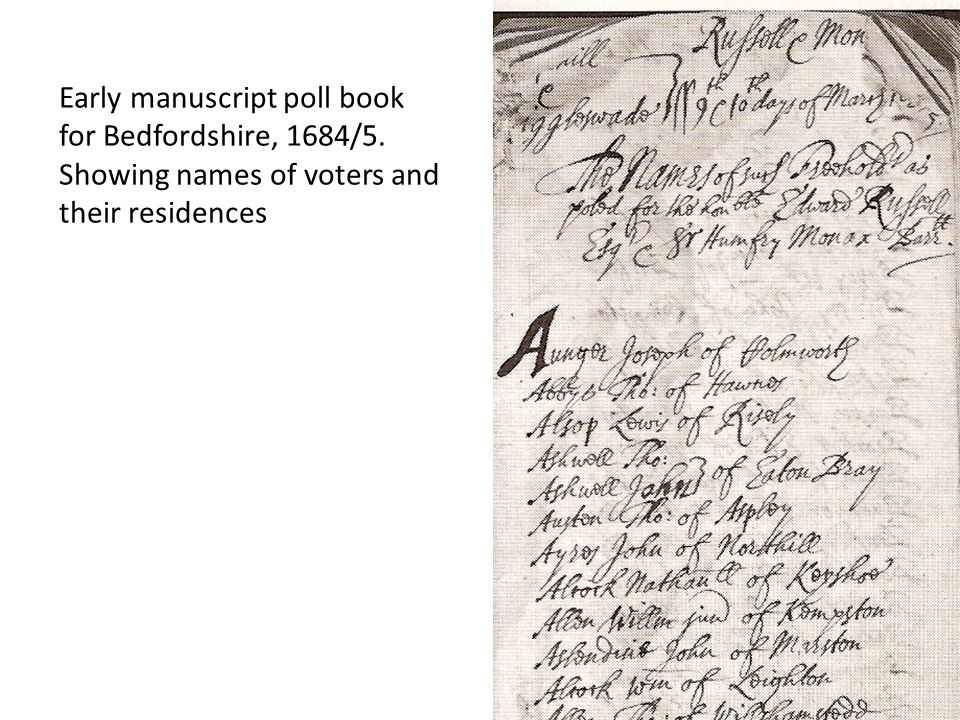 Early manuscript poll book for Bedfordshire, 1684/5