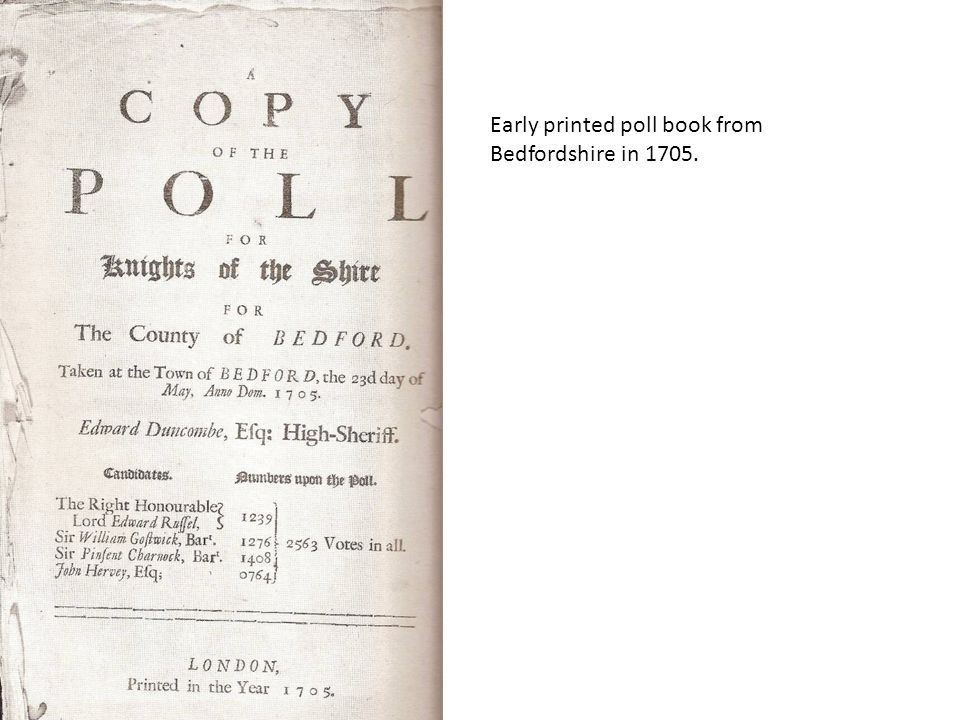 Early printed poll book from Bedfordshire in 1705.
