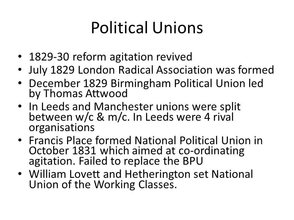 Political Unions 1829-30 reform agitation revived