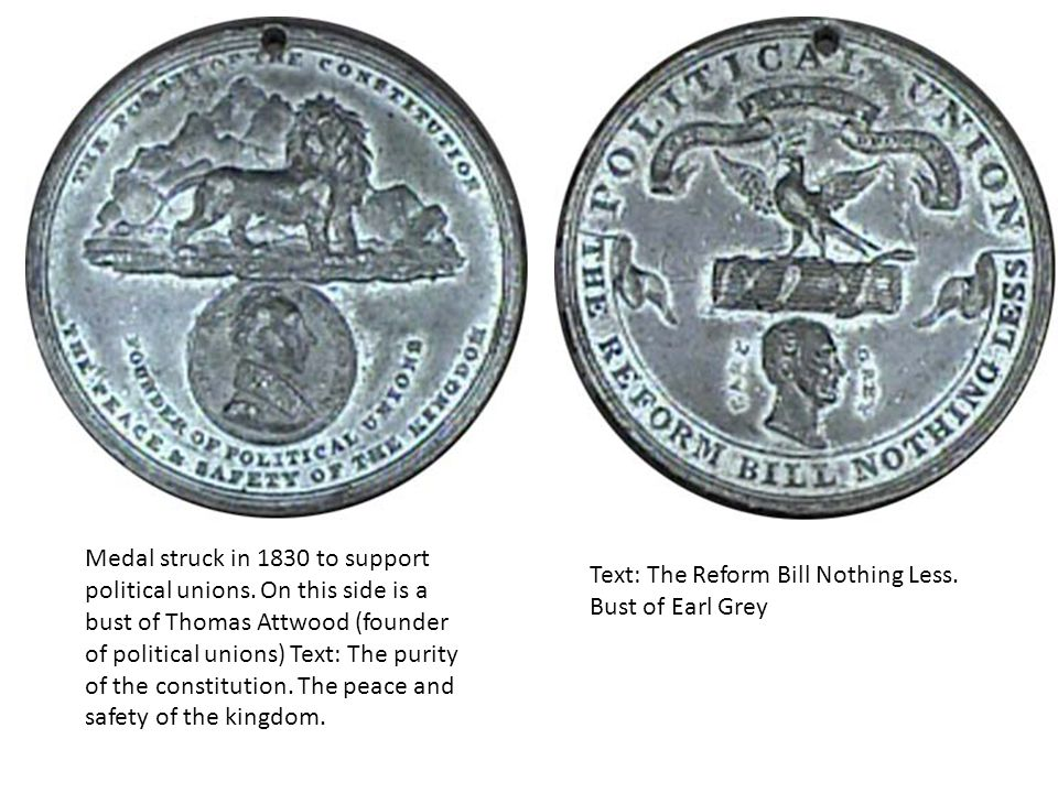 Medal struck in 1830 to support political unions