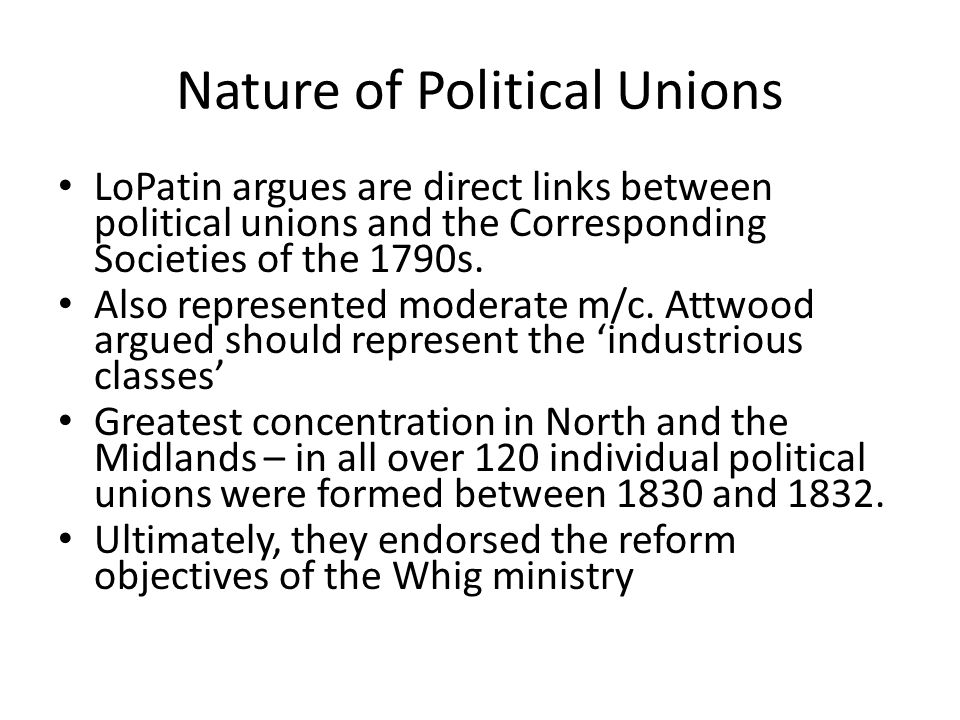 Nature of Political Unions
