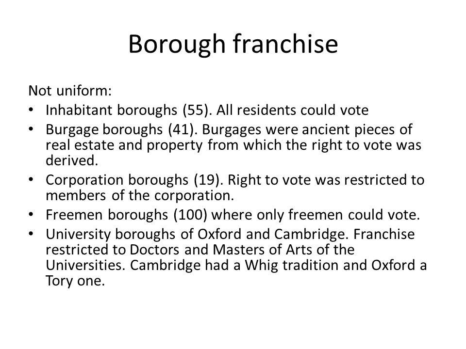 Borough franchise Not uniform: