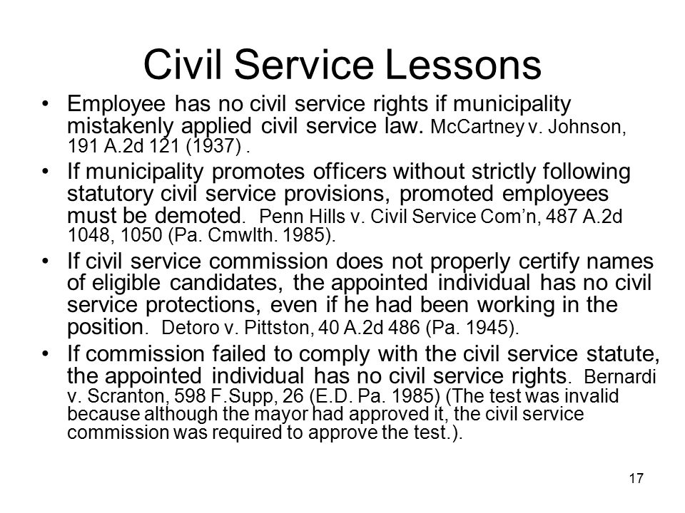 Civil Service Lessons