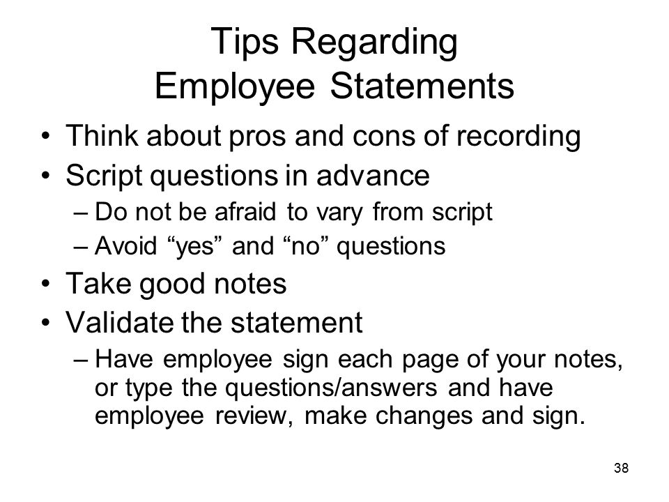 Tips Regarding Employee Statements