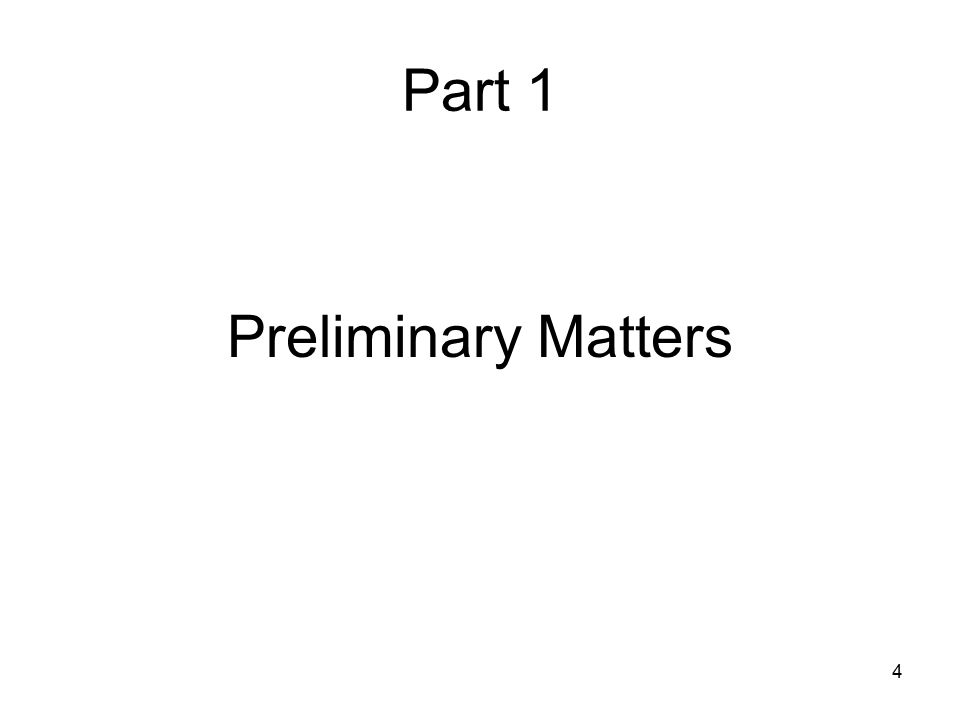 Part 1 Preliminary Matters