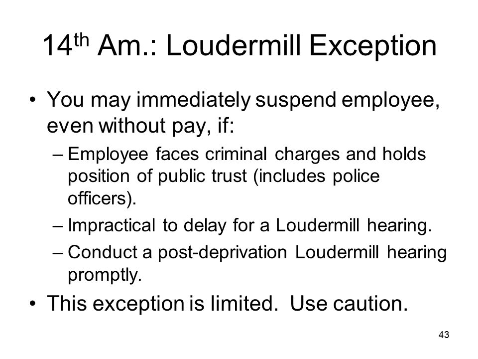 14th Am.: Loudermill Exception