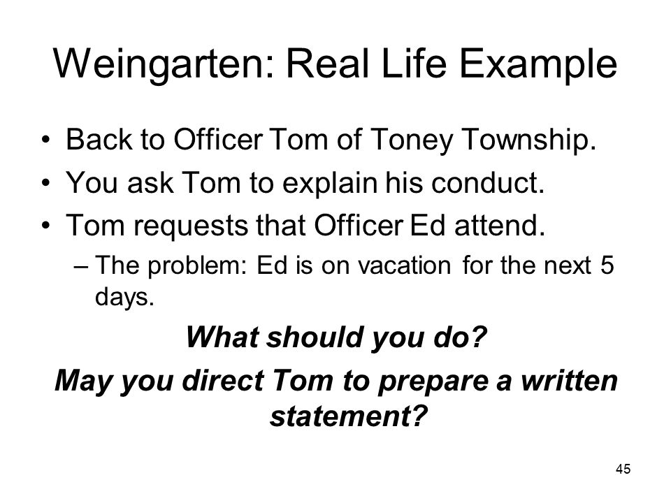 Weingarten: Real Life Example