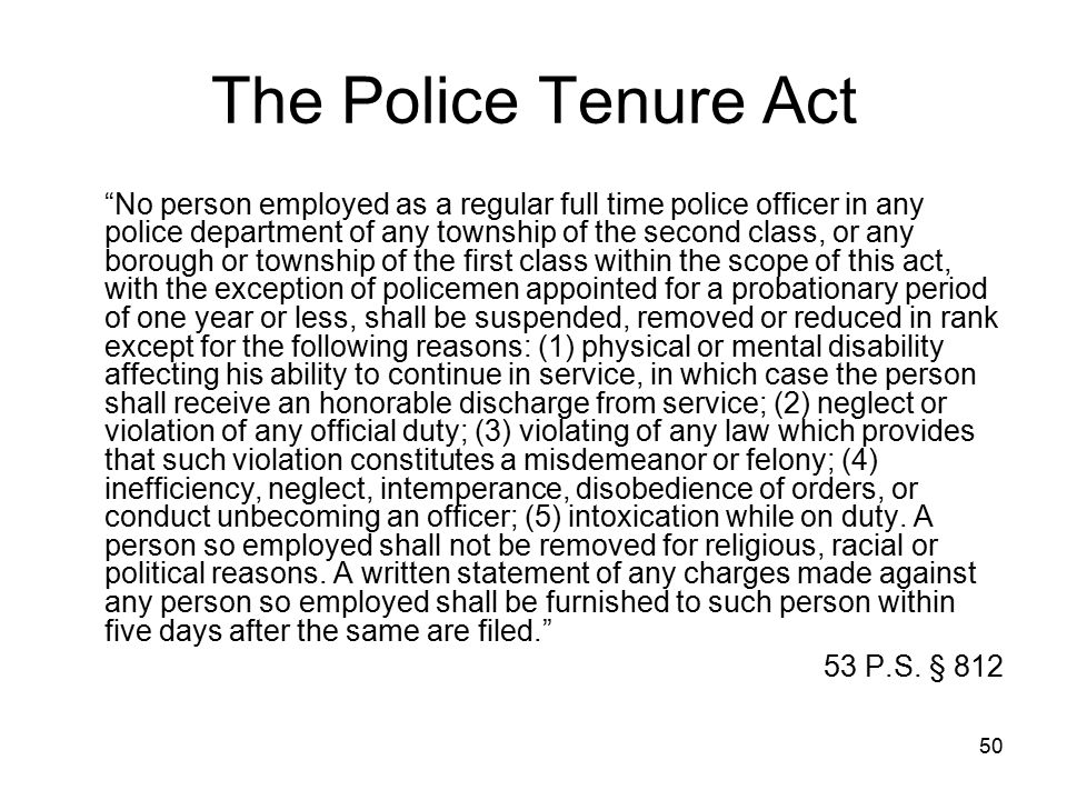 The Police Tenure Act