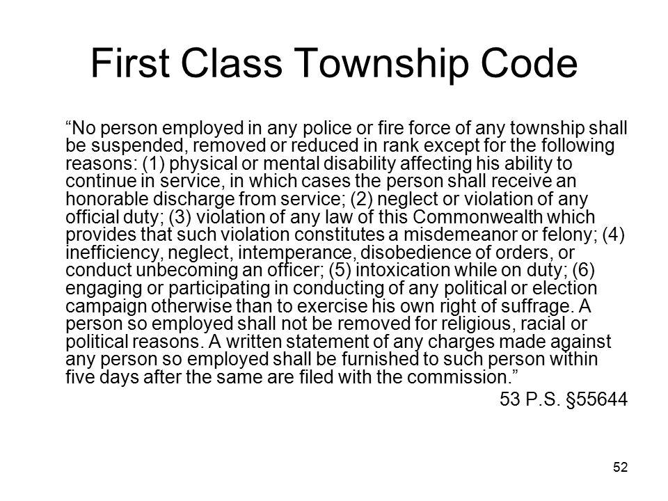 First Class Township Code