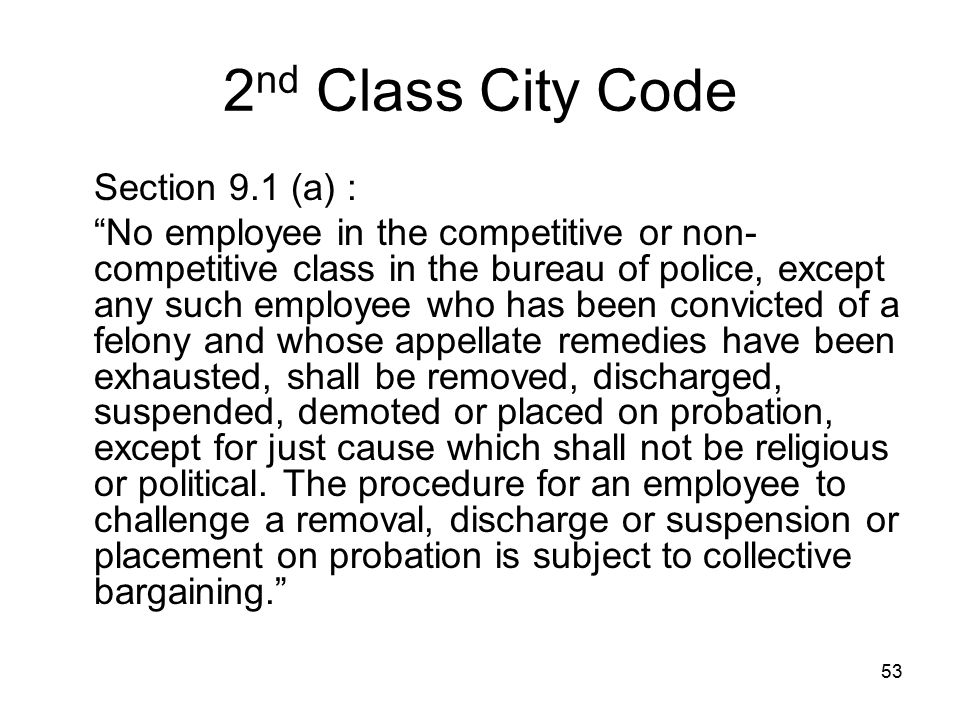 2nd Class City Code Section 9.1 (a) :