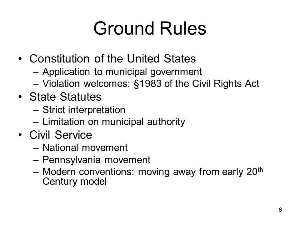 Ground Rules Constitution of the United States State Statutes