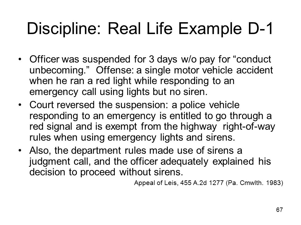 Discipline: Real Life Example D-1