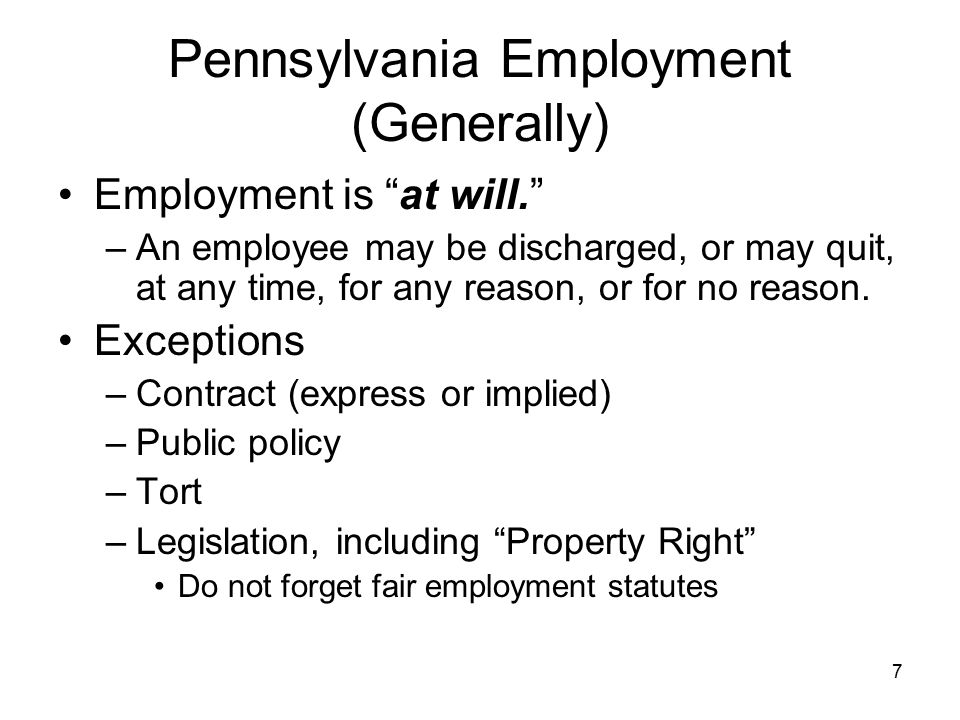 Pennsylvania Employment (Generally)