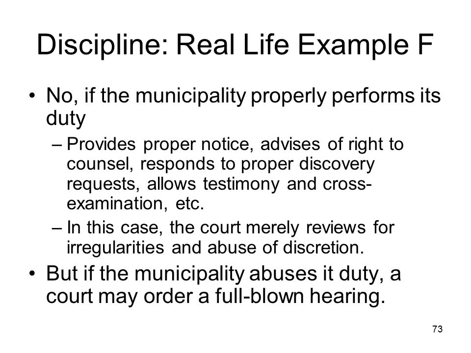 Discipline: Real Life Example F