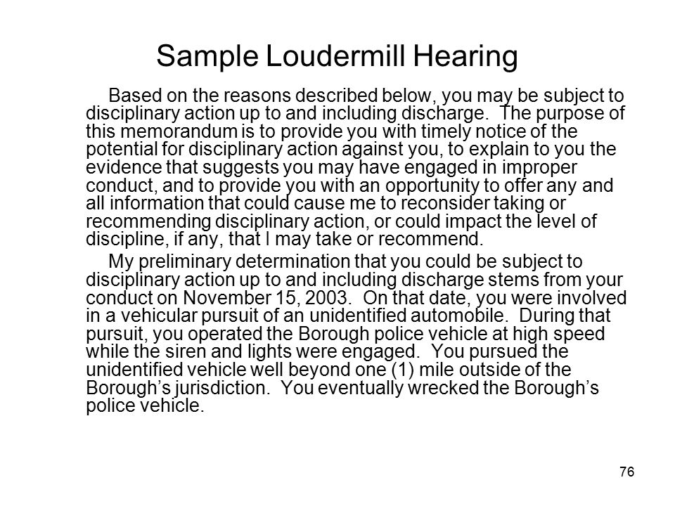 Sample Loudermill Hearing