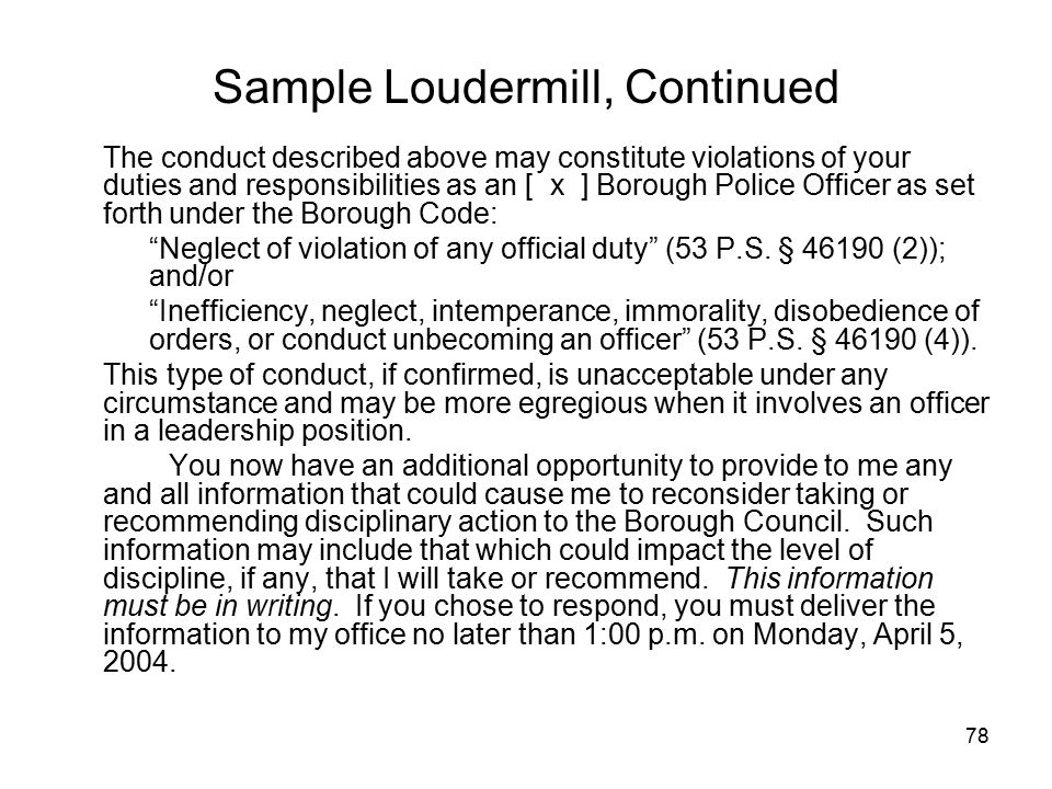 Sample Loudermill, Continued