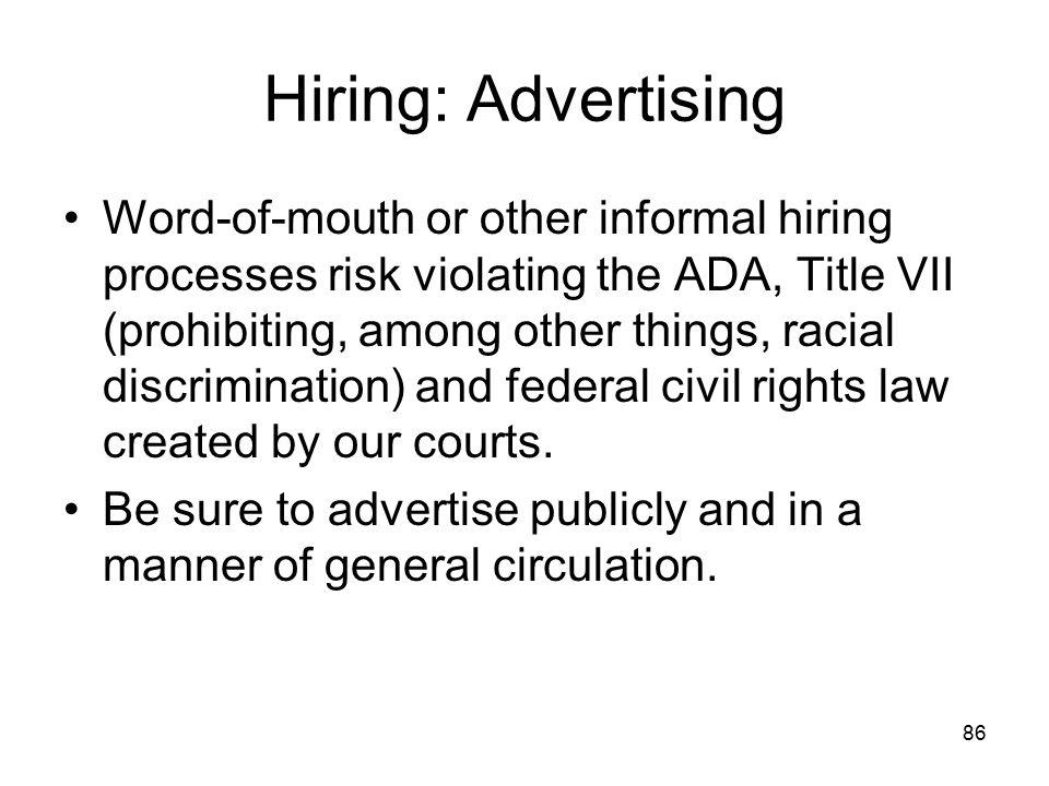Hiring: Advertising