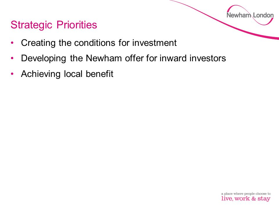 Strategic Priorities Creating the conditions for investment