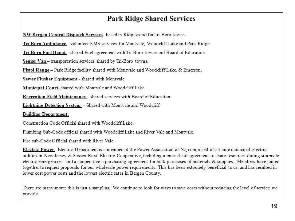 Park Ridge Shared Services