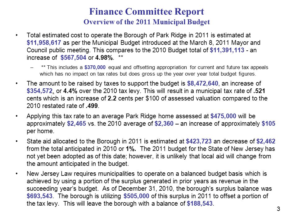 Finance Committee Report Overview of the 2011 Municipal Budget