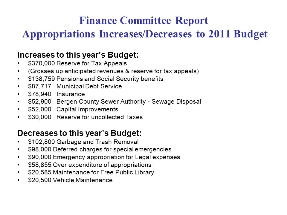 Finance Committee Report Appropriations Increases/Decreases to 2011 Budget