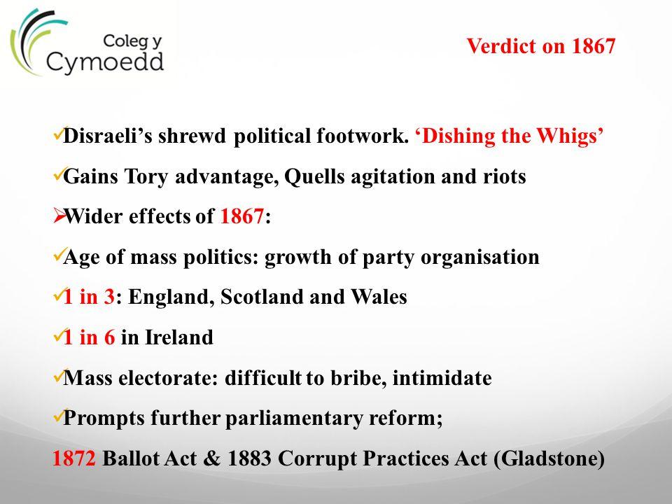 Disraeli's shrewd political footwork. 'Dishing the Whigs'